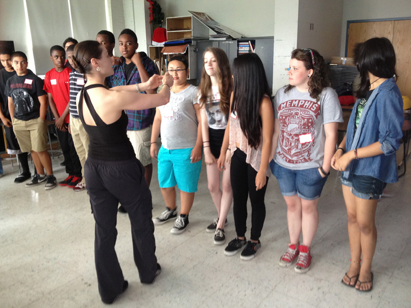 Courtney Peix with students