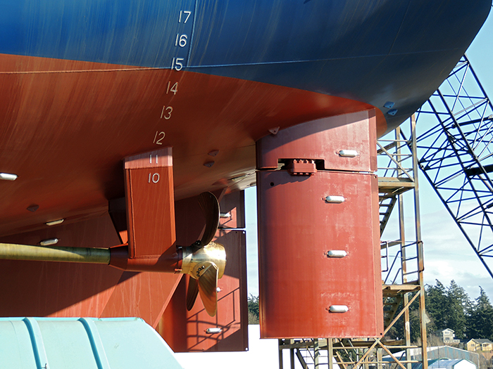 R/V Armstrong twin rudders