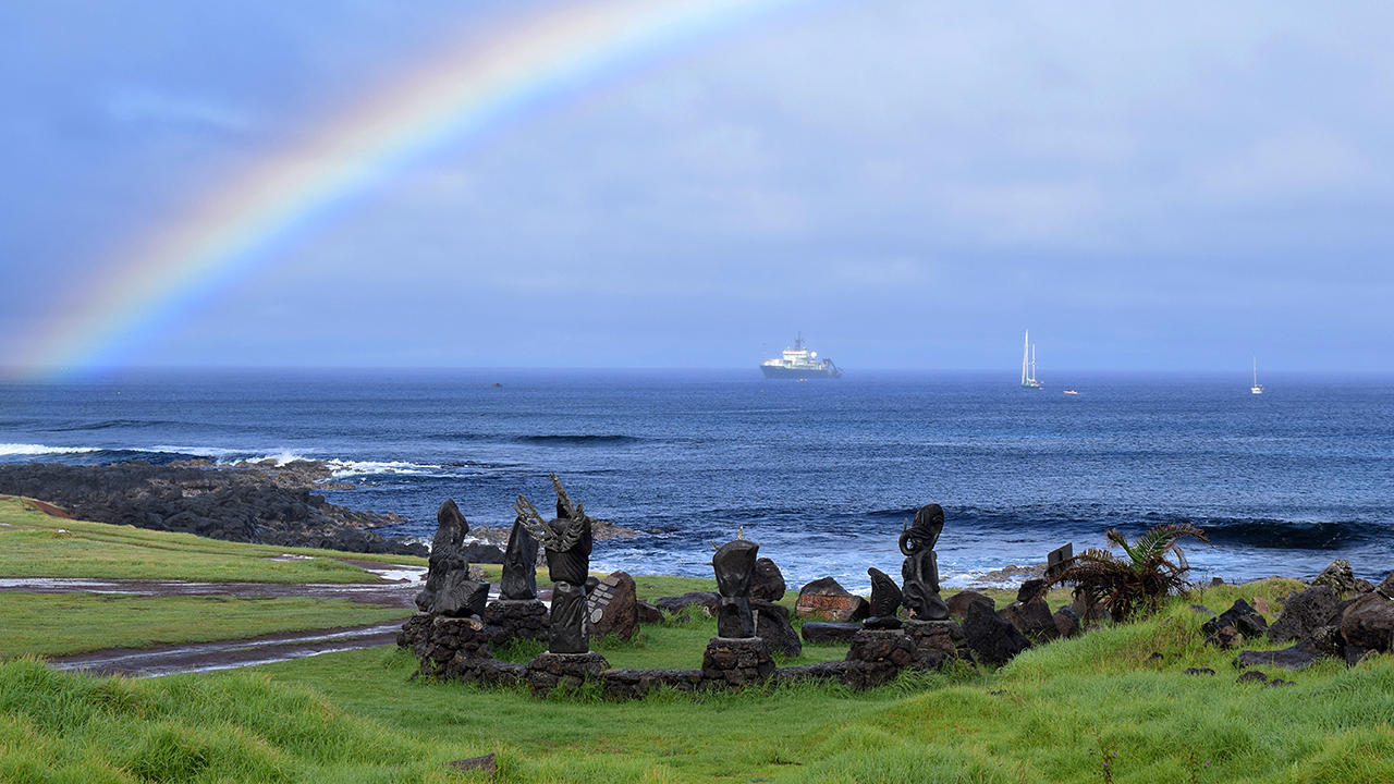 Research vessel Atlantis at Easter Island.