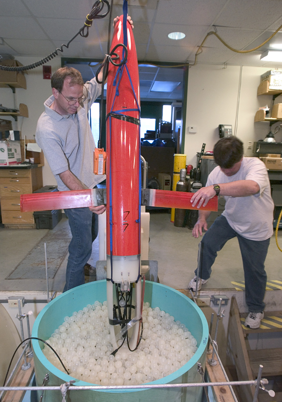 Jeff Sherman and Brian Guest working on the Spray Glider.
