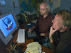 Jim Broda (front) and Jack Cook working on long core animation.