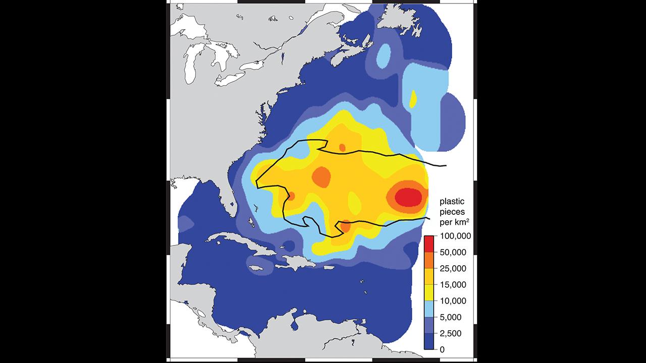 Floating plastic in the Atlantic Ocean