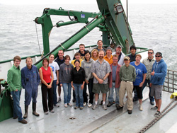 Science crew and members of ship's crew who could make it on the back deck of R/V KOK entering Tokyo Bay.