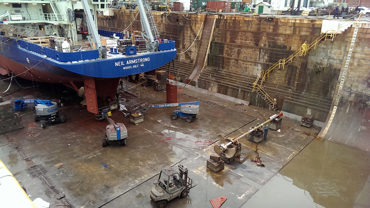 Neil Armstrong in a shipyard