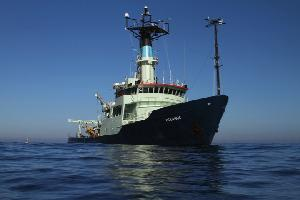 Oceanus Deploys a Buoy During Its Final Science Mission in 2011