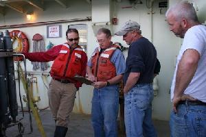 Jeff Lord, George Tupper, John Kemp, and Jim Ryder on Oceanus.