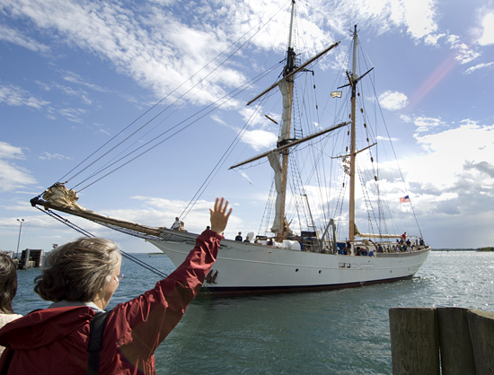 BL Owens waving goodbye to the SEA schooner Corwith Cramer.