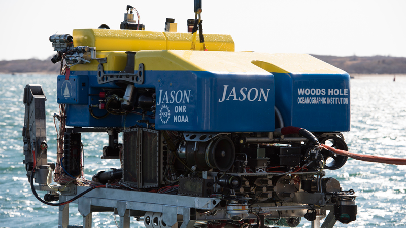 shot of ROV Jason on the WHOI dock