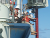 Long Core system being deployed off the R/V Knorr.