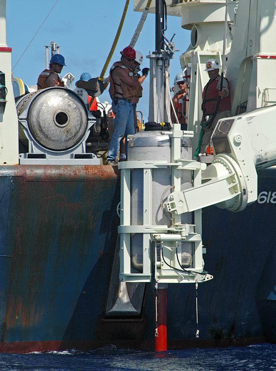 Long core piston handling off the stern of R/V Knorr.
