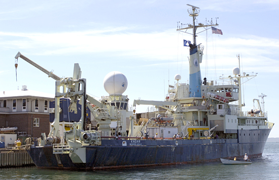 R/V Knorr departing the WHOI dock for the Long Core test cruise, 8/28/07.