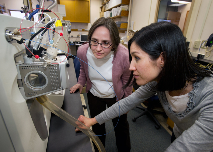 WHOI marine chemist Elizabeth Kujawinski (left) and research associate Melissa Kido Soule monitor a mass spectrometer that can detect and identify molecules in low concentrations within a mixture of compounds