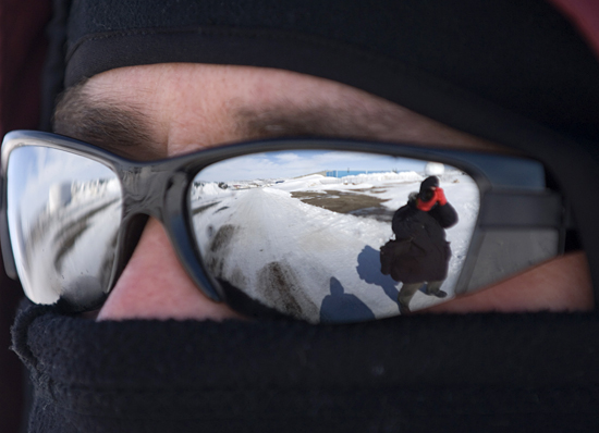 Mike Carlowicz's sun glasses reflecting Chris Linder taking his photo.