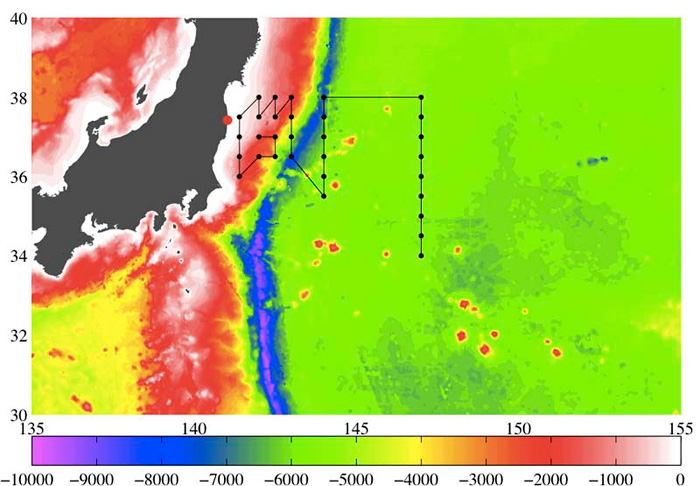 Our revised cruise track superimposed over depth contours for the seafloor east of Japan readily shows the deep Japan Trench in dark blue.