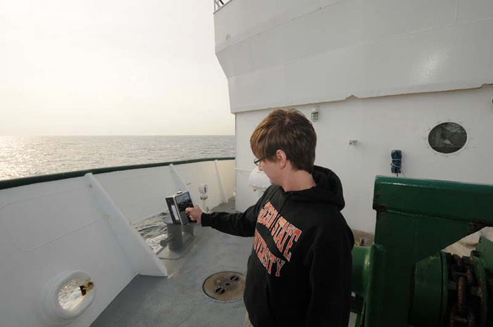 Jarvis Caffrey from Oregon State University makes his daily assessment of our effective dose on the ship. So far, we've received less radiation than we would have on land, primarily due to the lack of such naturally occurring sources as radon out here.