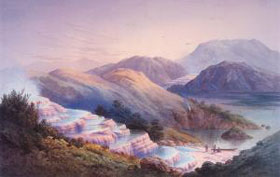 Painting of the Pink Terraces prior to 1886.