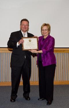 Susan K. Avery presents the 15th Ketchum Award to James E. Cloern