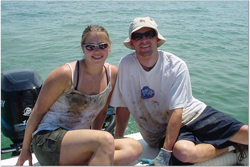 Juliette Smith and husban on Lake Erie collecting invertebrates.