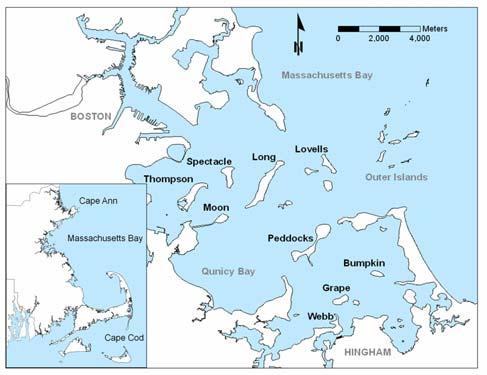 Location map of the Boston Harbor