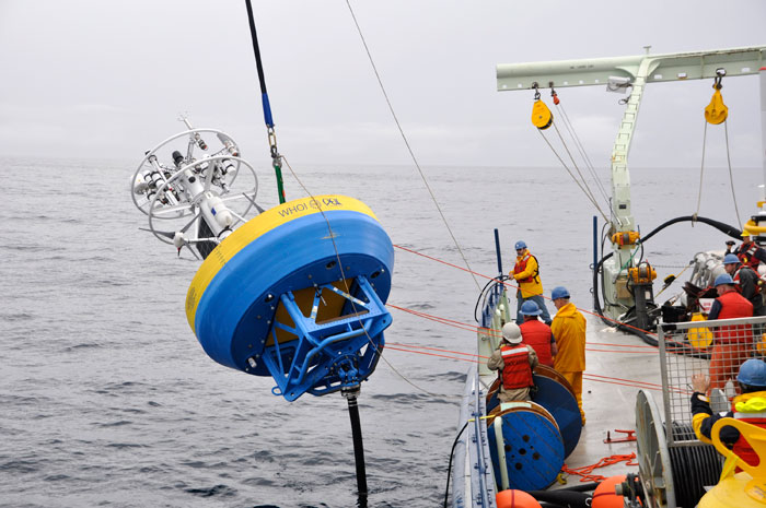 The Ocean Observatories Initiative (OOI) program successfully deployed moorings off the New England Coast, marking the first comprehensive test of an OOI system on the East Coast.