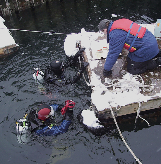 Michael Holcomb, Byron Pedler, and Ben Van Mooy recovering experimental plates under the WHOI pier.