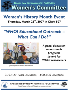 Women's History Month Event WHOI Educational Outreach - What can I do?