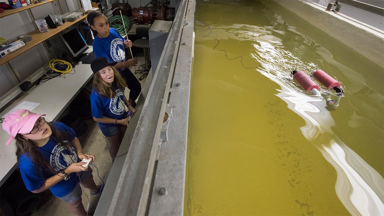 Middle school girls test an ROV