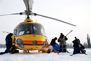 load the helicopter to return from sampling remote lakes