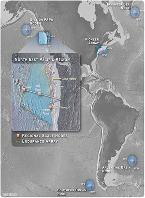 Overview map of the NSF ocean observing program