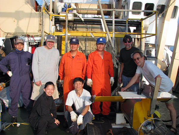 Taiwanese / U.S. SeaSoar team on the fantail of the Ocean Researcher #1