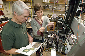 Rob Olson and Heidi Sosik examine plankton-filled water samples on a prototype version of the Imaging FlowCytobot