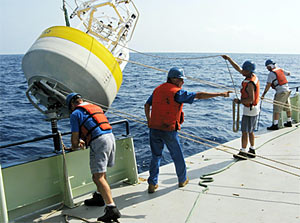 deployment of the KAUST air-sea interaction mooring for Tom Farrar?s research in the Red Sea