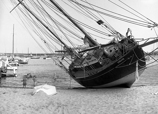 boat beached by hurricane carol