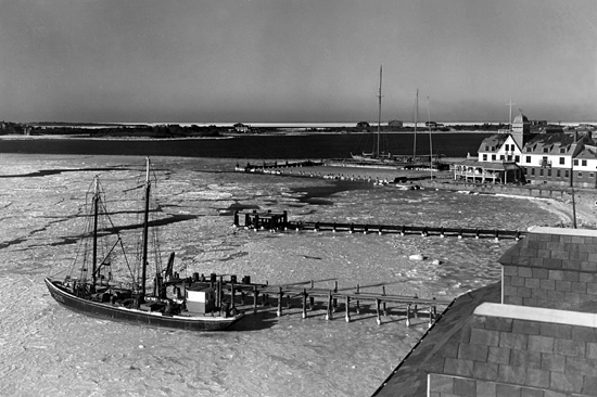 Ice in Great Harbor, Woods Hole, looking toward Penzance Point, 1/27/1945.