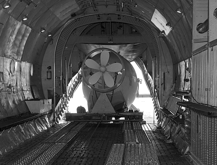 Alvin loaded into transport plane