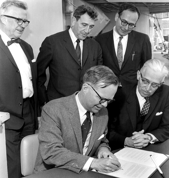 Signing ceremony for WHOI/MIT Joint program, May 8, 1968.