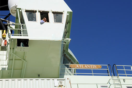 Mitzi Crane guides Atlantis to its berth