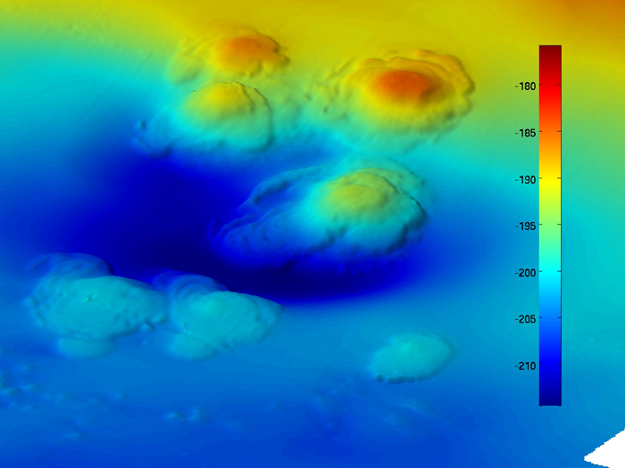 High-resolution bathymetry of extinct asphalt volcanoes at the dome site, collected using the autonomous underwater vehicle Sentr