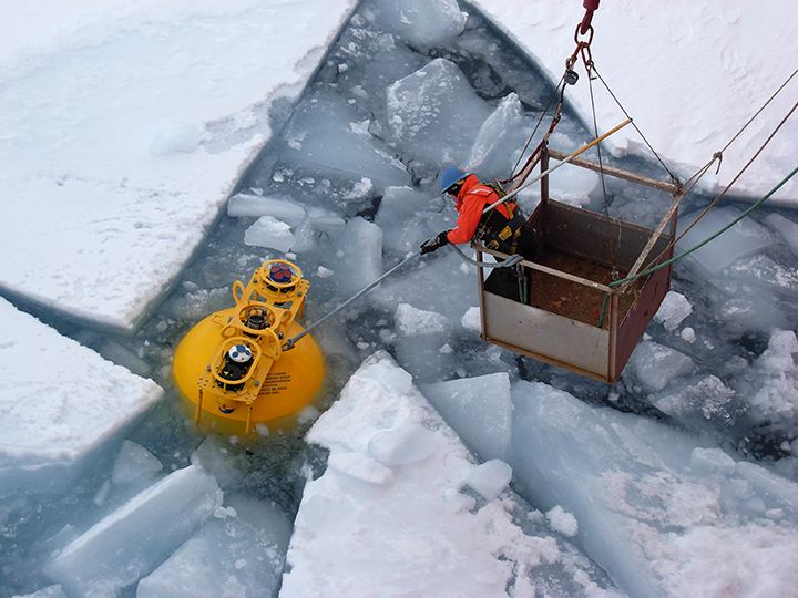 Recovery of mooring top float in September 2014 in the Beaufort Sea of the Arctic Ocean.