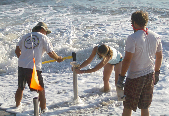 Sand core tube into beach