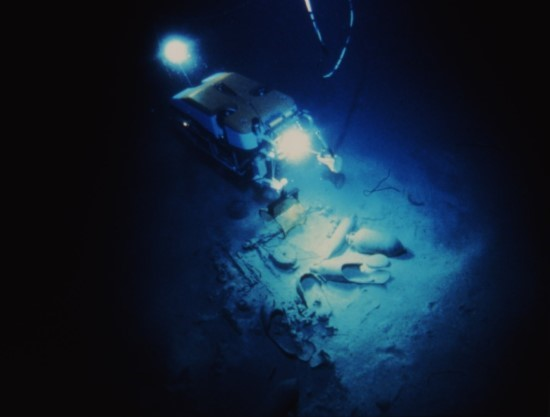 An image of the Jason ROV working on the site of Isis, a fourth century A.D. Roman vessel.