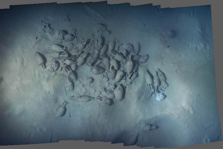 A photomosaic of the aft cargo assemblage on the 1st century B.C. Skerki D shipwreck. Images from the 2003 field season aboard R/V Knorr.