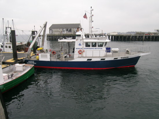 R/V TIOGA at the dock, preparing for the first SBNMS shipwreck survey, March 2005