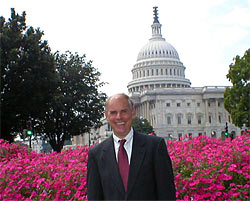 John Stegeman in front of the United States Capitol building.