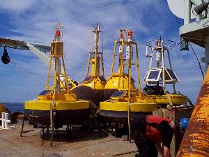 Buoys recovered, secured on deck and ready to head home at the end of the GLOBEC field program – OC 346 August 1999.
