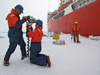 Drilling into sea ice