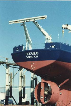 Oceanus in drydock, stern view showing Cort Nozzle.