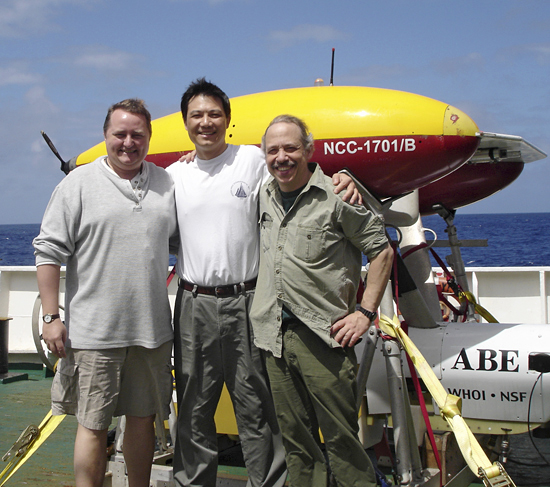 Three members of the WHOI team: Christopher German, Jian Lin, and Dana Yoerger.