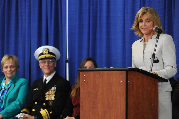 Carol Armstrong, ship's sponsor, delivers remarks during the christening ceremony for the Auxilliary General Oceanographic Research (AGOR) research vessel (R/V) Neil Armstrong (AGOR 27).