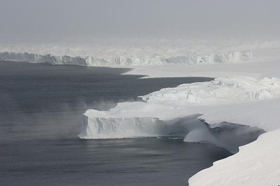 The Ross Ice Shelf where it collides with Cape Crozier.